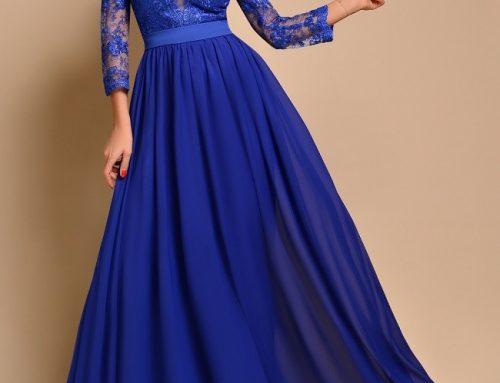 Rochie lungă de ocazie Consuelo D3KH albastră cu dantelă și decolteu adânc