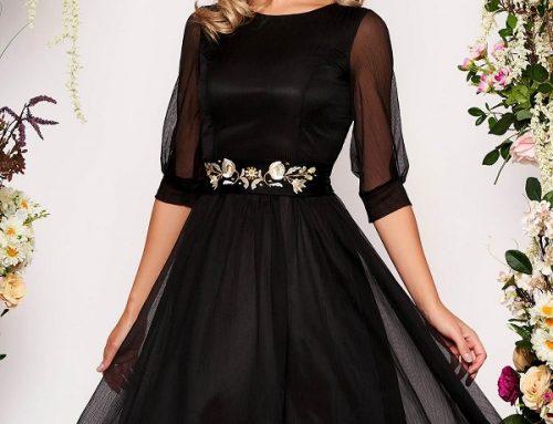 Rochie de ocazie Rhoda H4KN Starshiners neagră din voal cu broderie florală