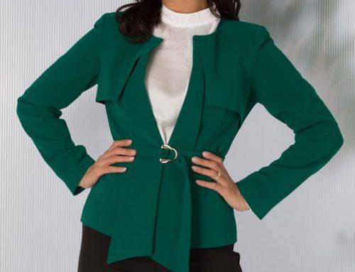 Sacou damă Palma H5JH Leonard elegant verde cu cordon și umeri buretați