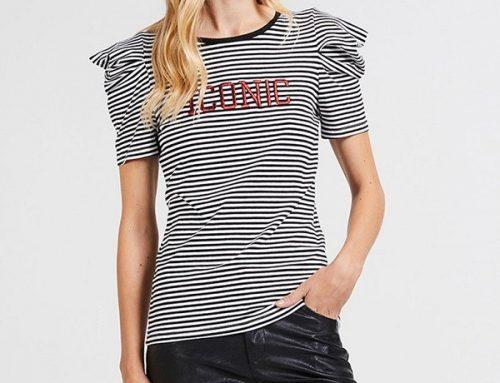 Tricou din bumbac Motivi K6VZ Adell de damă cu dungi și mâneci drapate