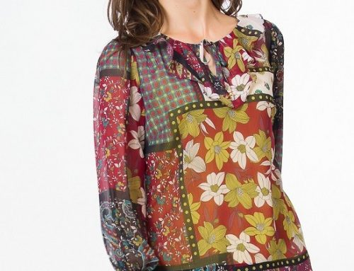 Bluză de damă Grace NL5QH Kimmy lejeră tip ie cu imprimeu multicolor