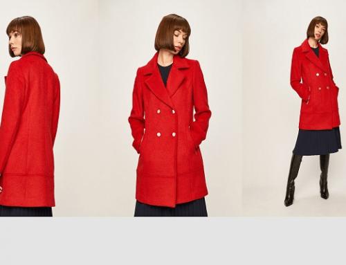 Promoția zilei: Reducere -35% palton de damă Morgan roșu de iarnă din lână drept și cu buzunare