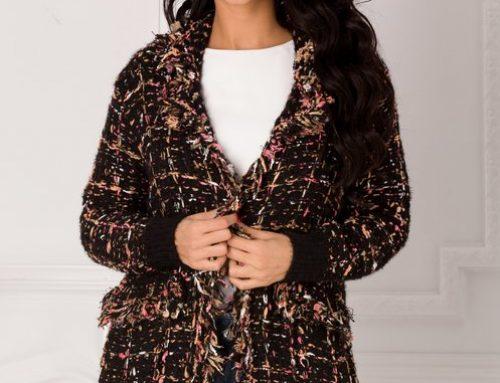 Cardigan de damă Matilda GT5KHY lung tricotat cu buzunare și franjuri
