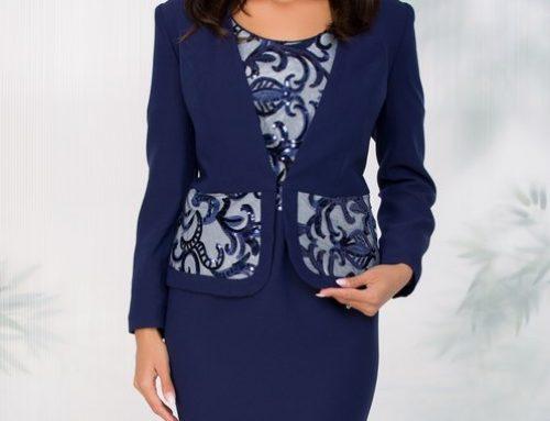 Costum elegant Velvet QH5MY de damă cu paiete, sacou și rochie conică