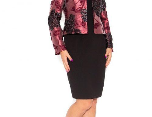 Costum damă Odell G7KN elegant cu sacou din brocart floral și rochie neagră