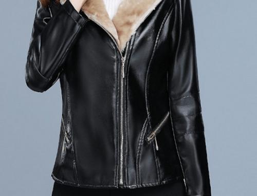 Geacă de damă Milena DHU5G scurtă neagră căptușită cu material plușat