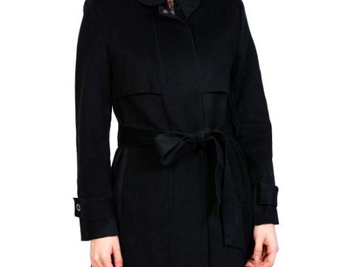 Palton de damă Aveline DL4UN office negru cambrat cu cordon în talie