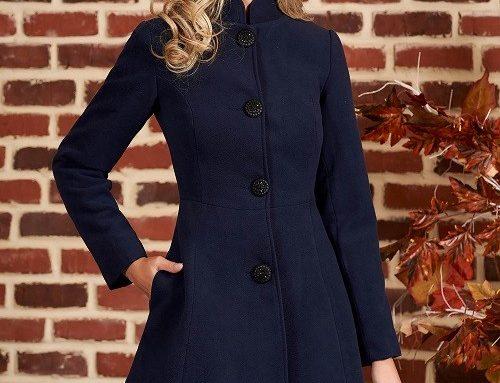 Palton de damă Janelle GN5VSP Artista elegant cambrat gros albastru