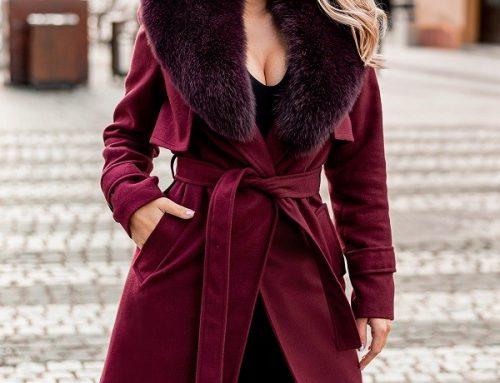 Palton de damă Nessa DG5NHQ elegant bordo cu guler îmblănit și cordon
