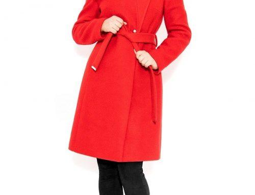 Palton de damă Saylor DQ5NHY elegant roșu din lână și cu cordon în talie