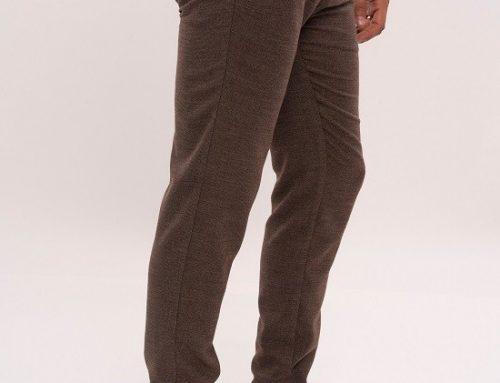 Pantaloni casual Brody MGQ5U pentru bărbați maro slim fit cu buzunare