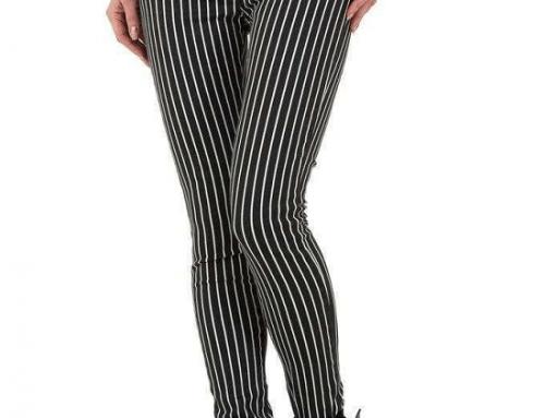 Pantaloni de damă Hanna GRU5B casual skinny cu dungi și talie înaltă