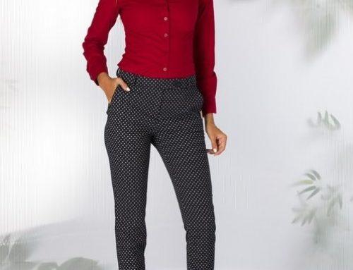 Pantaloni de damă Judy DL5KN Freya office conici elastici cu imprimeu
