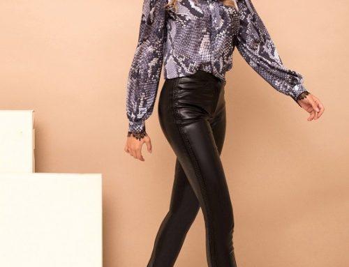 Pantaloni din piele ecologică Beatrix H7MG PrettyGirl damă cu talie înaltă