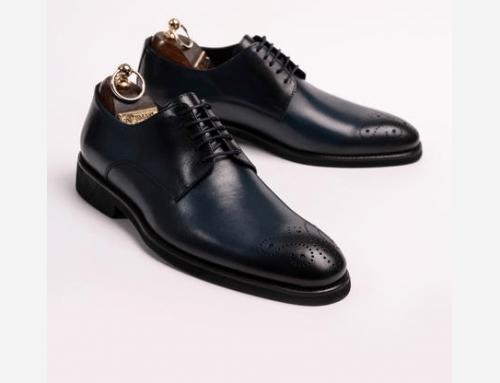 Pantofi eleganți Elvin DL6KY bărbați derby din piele naturală albaștri