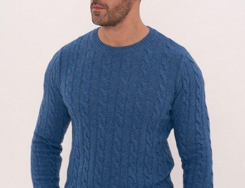 Pulover din lână Julien HDQ5Y bărbați casual împletit albastru