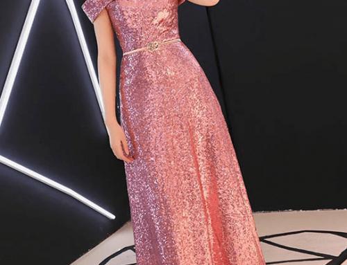 Rochie de ocazie lungă Riona DNY4K Deira roz cu paiete și umerii goi