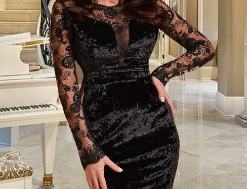 Rochie de ocazie Evelyn VU5KQ neagră din catifea cu dantelă și decolteu în V