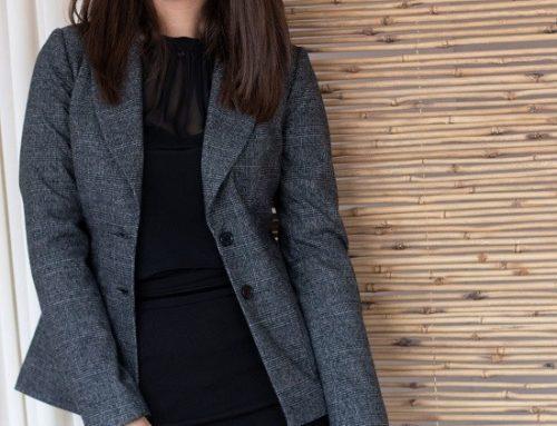 Sacou de damă Naoise DHU5T office gri în carouri cambrat cu revere