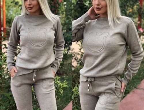 Promoția zilei: Reducere de -16% trening de damă bej modern tricotat cu buzunare de toamnă/iarnă