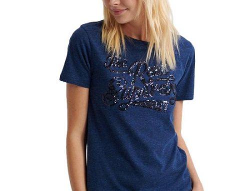 Tricou de damă Everly HVQ8Y Sequin casual din bumbac albastru
