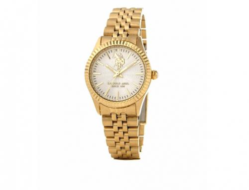 Ceas de damă auriu U.S. Polo ASSN Azure USP5655YG, 5ATM, Quartz