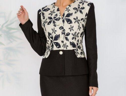Costum de damă Laoise HNQ4U Naomi elegant negru cu fustă conică și inserții strălucitoare
