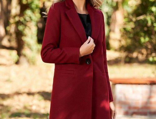 Palton office LaDonna DQK7S Cali de damă clasic vișiniu din lână drept
