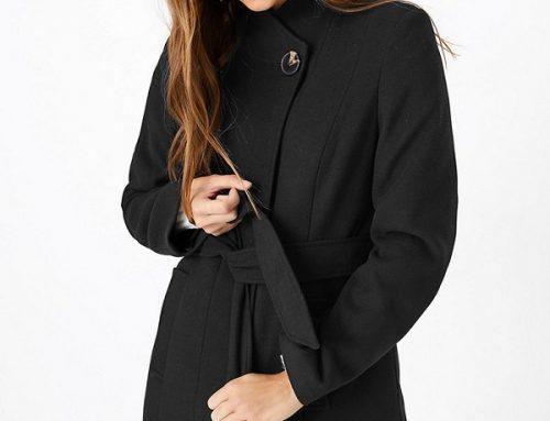 Palton de damă Marks & Spencer DSQ5U Brandy negru drept cu cordon în talie și guler scurt