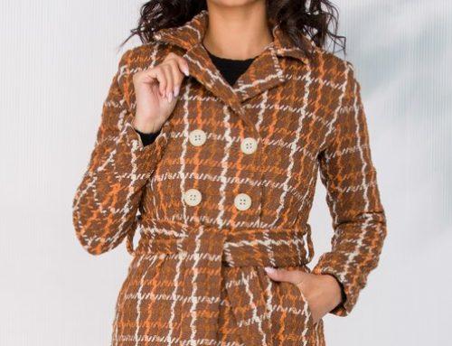 Palton scurt Dahlia GQS5Y Moze de damă cu imprimeu în carouri, cu cordon în talie