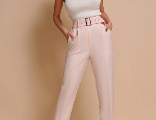Pantaloni de damă Ellen DQK7Y eleganți roz prăfuit cu talie înaltă și curea