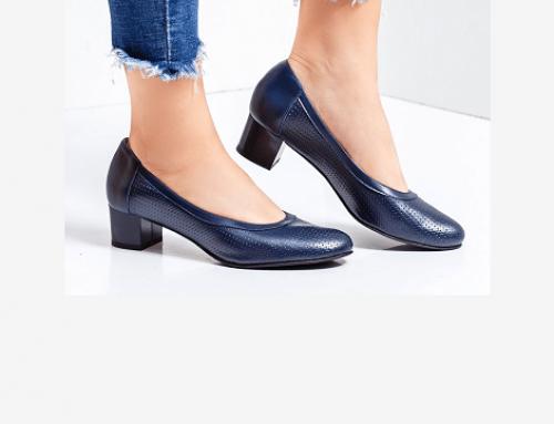 Pantofi office Parker NQD5E Maurelle de damă din piele naturală cu toc gros albaștri