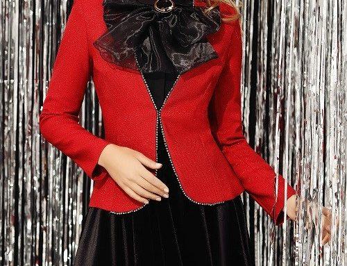 Sacou de ocazie Melissa BQH5U Fofy de damă roșu cu cristale și fir lame