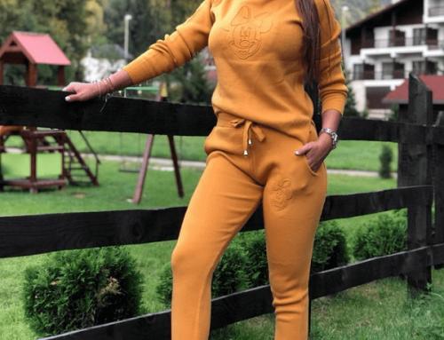 Trening de damă Joselyn GDQ7Y tricotat galben muștar gros cu buzunare