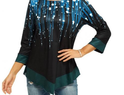 Bluză cu imprimeu Greta DQL4U de damă asimetrică casual din amestec de bumbac