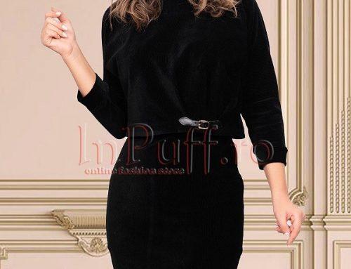 Compleu de damă Emerie GHQ4Y elegant negru cu fustă din catifea, bluză și curea în talie
