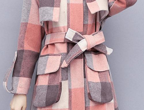Palton de damă Averi GHQ5M Opal scurt casual cu model în carouri