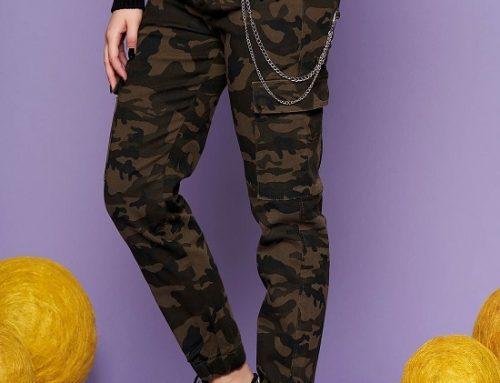 Pantaloni damă Yara DQ4YL SunShine cu imprimeu camuflaj și lanț metalic, din bumbac