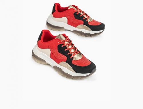 Pantofi sport cu toc plat Selene GNQ5D Noja de damă roșii din piele ecologică