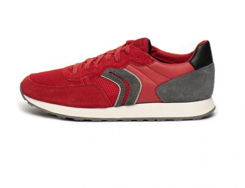 Pantofi sport Geox DQA4U Arthur bărbați din piele naturală întoarsă, roșii