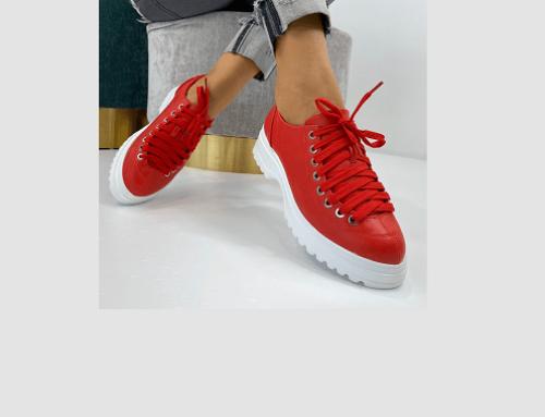 Pantofi de damă Bonnie GNY4Q Koraxi casual roșii cu platformă și talpă plată