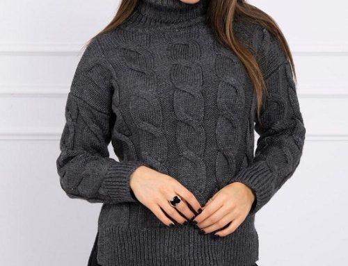 Pulover de damă Valery KQH7H Ezra casual tricotat din lână grafit cu guler înalt