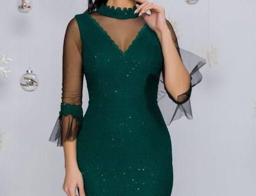 Rochie de ocazie Jennifer HNK5U Leonard Collection verde cu tull și paiete conică, cu decolteu în V