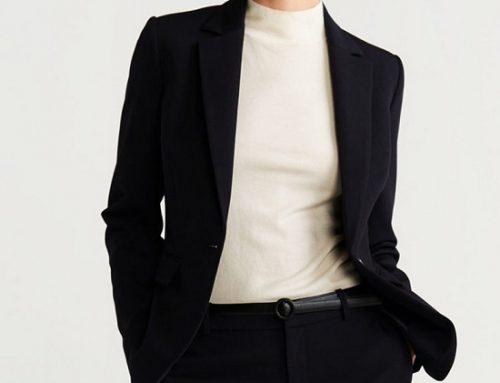 Sacou de damă Mango THW5Q Simone casual slim fit negru cu revere decupate
