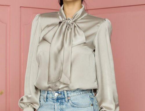 Bluză elegantă Kathryn GY5MQ LaDonna de damă sidefată bej cu guler tip eșarfă