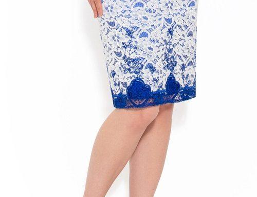 Fustă elegantă Samira DQK2LW Tori albastră din dantelă ivoire conică cu țesătură satinată