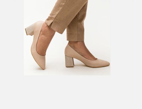 Pantofi de damă Patricia VSQ5KL Samee office bej cu toc masiv și vârf ascuțit