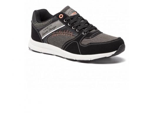 Pantofi sport negri Lanetti HNGQ5L Kevin pentru bărbați din piele ecologică
