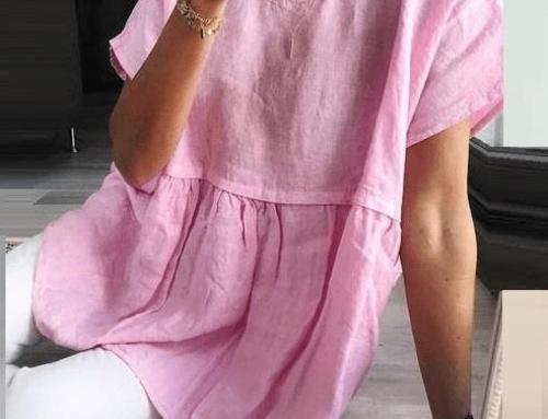 Bluză vaporoasă Alessandra GMQ5U de damă casual lejeră roz cu mâneci scurte