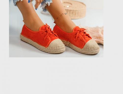 Espadrile portocalii Khloe GLDQ5M de damă casual cu talpă plată din piele eco